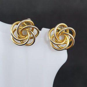 Vintage Woven Gold Tone Stud Earrings Swirl Women